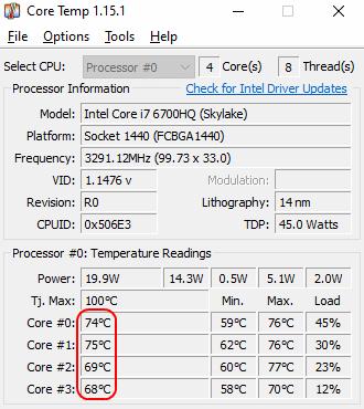 CoreTemp ноутбука во время игры с FPS 120